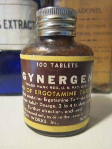 Vintage Sandoz Gynergen Ergotamine Pill Medicine Bottle EMPTY Apothecary Ergot