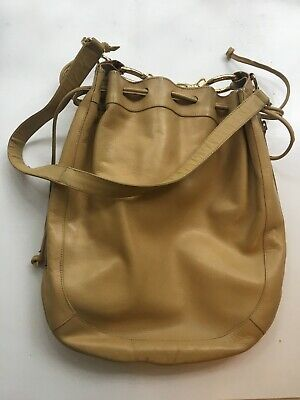 VINTAGE GUCCI Leather Golden Tan DRAWSTRING BUCKET BAG - RECONDITIONED