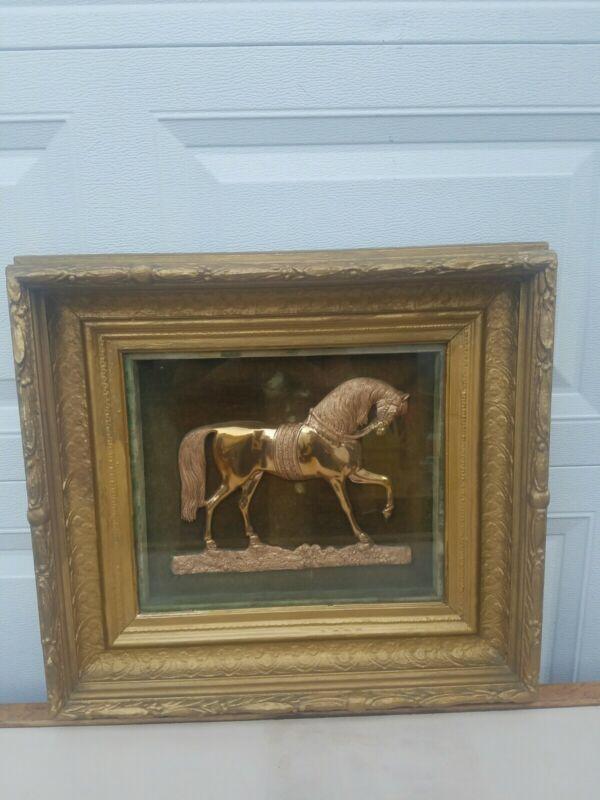 Antique Vintage Horse Plaque In Wooden  Frame