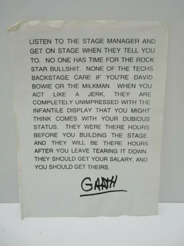 Garth Brooks Copy of Stage Manager Paperwork The Dance Thunder Rolls