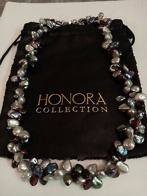 Honora Sterling Silver White Black Silver Blue Garnet Keshi Pearl Necklace
