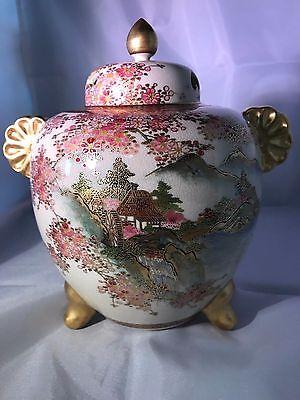 Vintage Japanese Ginger Jar  Urn Artist signed  8 1/2 inches