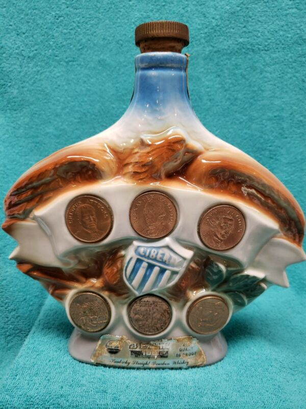 Jim Beam Liberty Coin Whiskey Bottle/Decanter 1970 w/all 6 Coins Hand Crafted