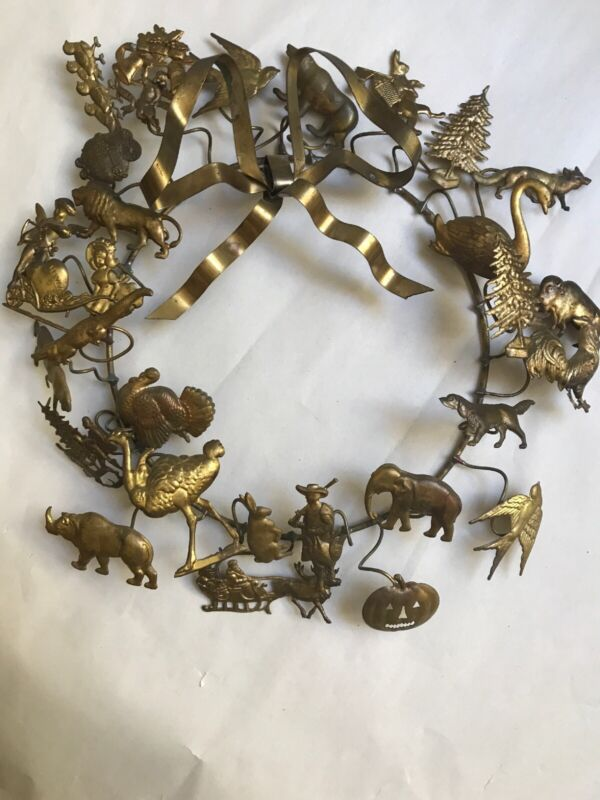 "Vintage 11"" Dresden Brass Multi Holiday Animal Wreath 27 Figures"