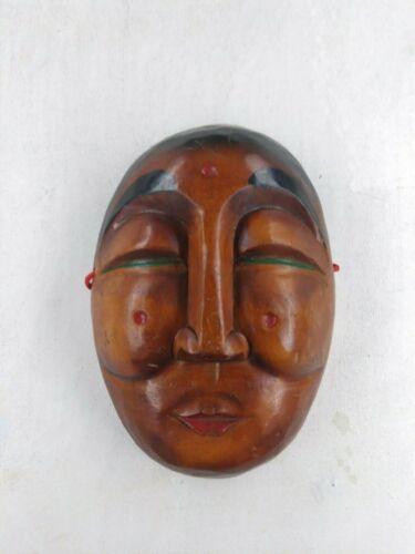 "Vintage Solid Wood Asian Female Mask Origin Unknown 10.5""H x 7.25""W x 3""Deep"