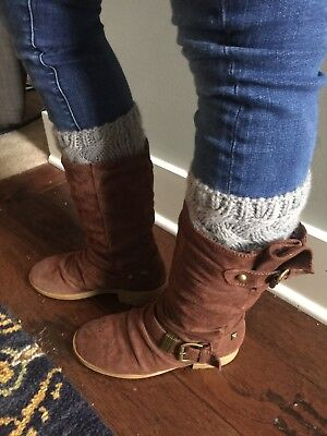 NEW Grey Cable Knit Sweater Boot Cuffs Socks Leg Warmers Cable Knit Leg Warmers