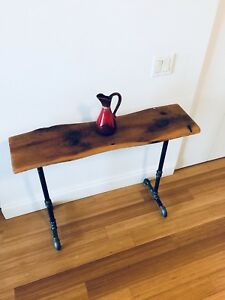 HALL WAY CONSOLE TABLE VINTAGE RECLAIMED WOOD INDUSTRIAL PIPE