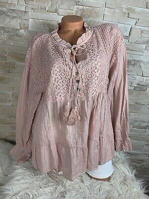 Blogger Trend Ibiza Boho Style Bluse Tunika nude rose Gr 36 38 40  Neu