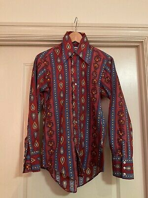 1970s Mens Shirt Styles – Vintage 70s Shirts for Guys Vintage 70s Paisley Psychedelic Disco Shirt 1970s  Poly Cotton Red Mens S $32.00 AT vintagedancer.com