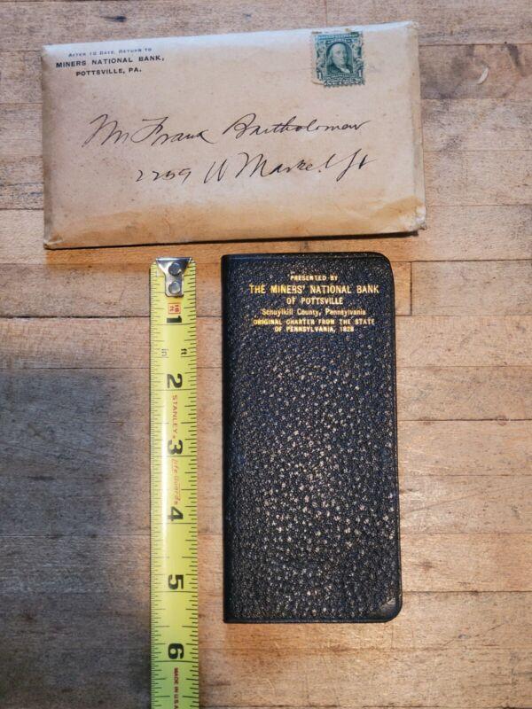 Old Vintage 1907 Miners National Bank Pottsville PA calendar address notebook