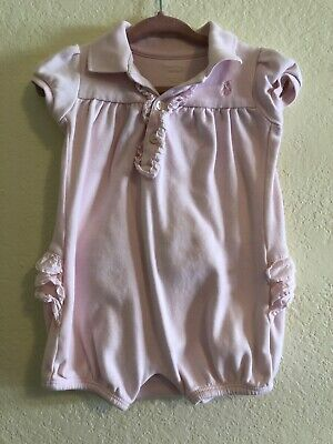 Ralph Lauren Baby Girl Pink Romper Size 9 Months