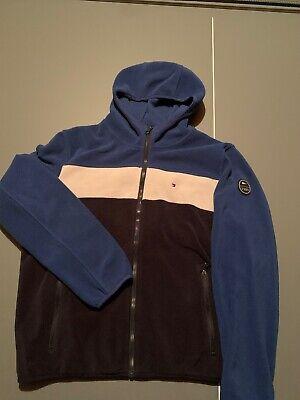 tommy hilfiger fleece jacket Coat Mens L Large Blue Used White Zip Ip