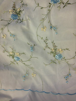 2 Yards, Bouquet Flower Embroidered Organza with Scalloped Edges, 55