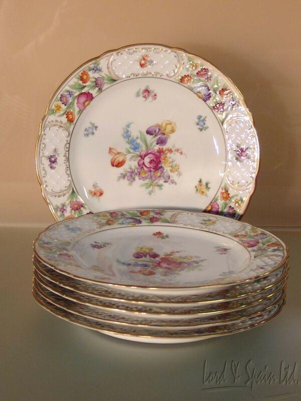 """6 Schumann EMPRESS DRESDEN FLOWERS 10 1/8"""" Multi Motif Dinner Plates"""