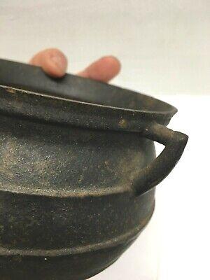 "Old Cast Iron 1L Three Legged Cauldron Pot Handle 6"" Made in Portugal"