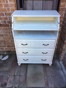 White shabby-chic style wooden baby change table Marrickville Marrickville Area Preview
