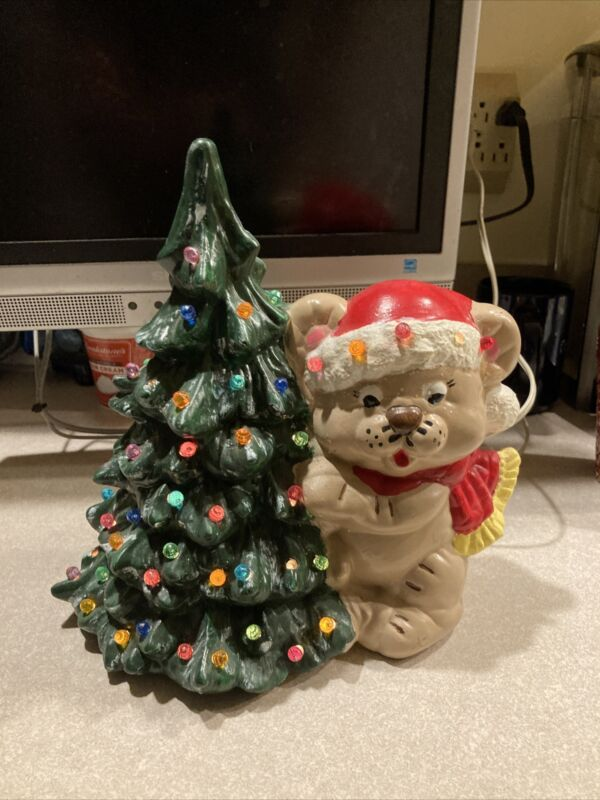 Vintage Ceramic Light Up Christmas Tree With Teddy Bear-ADORABLE