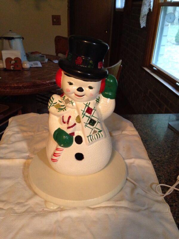 "Vintage Christmas 1970-80 Ceramic Handpainted 13"" Snowman W/Candycane Light Base"