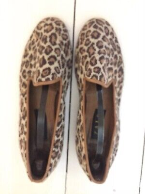 LEOPARD PRINT ZALO EMBROIDERED EVENING SLIPPERS FLATS SHOES EU 38 Size 5.5 UK