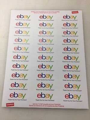 """eBay Thank You Labels 2 5/8"""" X 1"""" 1020 Shipping Labels 34 Sheets FREE SHIPPING"""