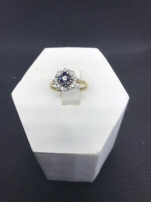Beautiful Vintage 9ct Gold Sapphire & Diamond Ring Size N 1/2