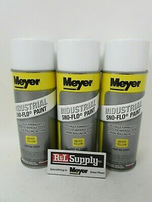 3 Cans Genuine Meyer Snow Plow Yellow Snow Flo Paint 07027 08677