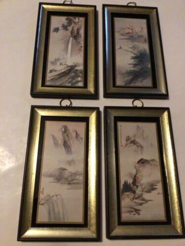 "Vintage Chang Shu Chi Prints Framed  ""THE FOUR SEASONS"" MCM Art"