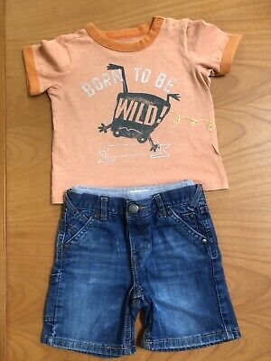 Baby Gap Boys Shirt And Shorts Set 18-24 Months Born to be Wild