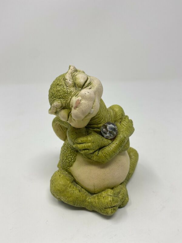 Dragon Keep Figurine w/ Crystal by Marty Sculpture Inc., Rare Vintage 1980s VGC