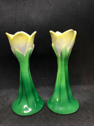 Vintage Neiman-Marcus Yellow Tulip Candle Holders Japan Porcelain/Ceramic
