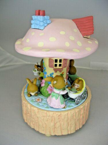 Vtg Enesco Bunny Rabbit Carousel Music Box Revolves & Plays In My Easter Bonnet