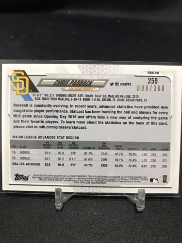 2021 Topps Series 1 Chris Paddack Advanced Stat Parallel /300 259 S.D. Padres - $3.99