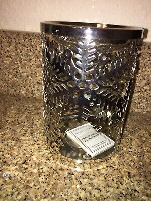 New ~ Bath & and Body Works Metal Slatkin Oil Warmer Snowflake Winter Design