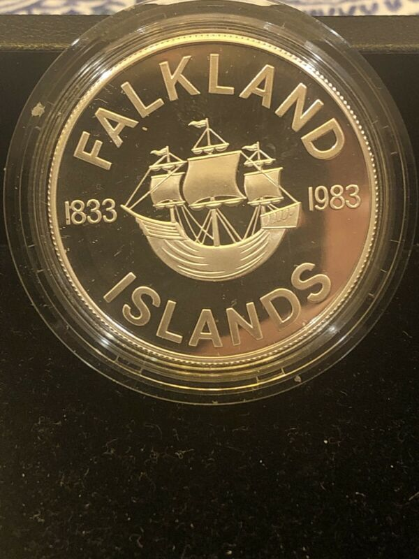 1983 Falkland Islands 50 Pence 150th Anniversary Sterling Silver Coin in OGP