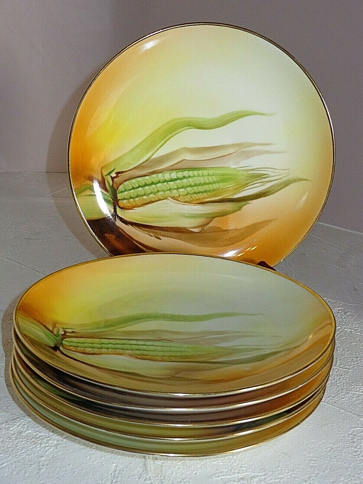 Antique Hand Painted Nippon Porcelain EAR OF CORN Plates 6  - $44.99
