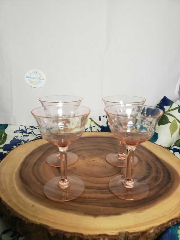 272 4pc Set 1930s Pink Depression Crystal Wine & Champagne Glasses/Goblet