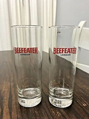 Set of 2 Beefeater London Gin Tall Drink Glasses Red & Black EUC