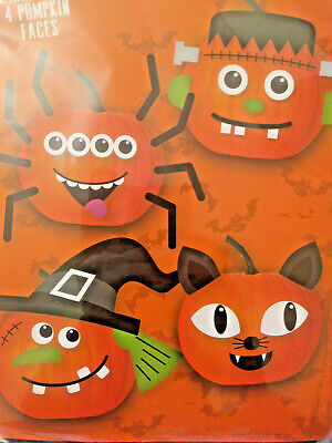 Halloween Pumpkin Decorating Kit 4 Faces to Choose From! Foam Stickers