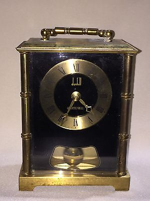 RARE Dunhill Quartz Bell Carriage Mantel Chiming Clock w/ Swinging Pendulum
