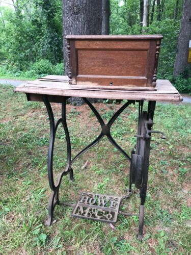 Antique Elias Howe Treadle Sewing Machine with Coffin Lid