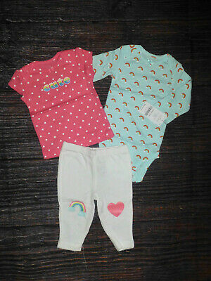 NWT Carters Baby Girls Rainbow Bodysuit Shirt Pants Outfit Set 3 Months
