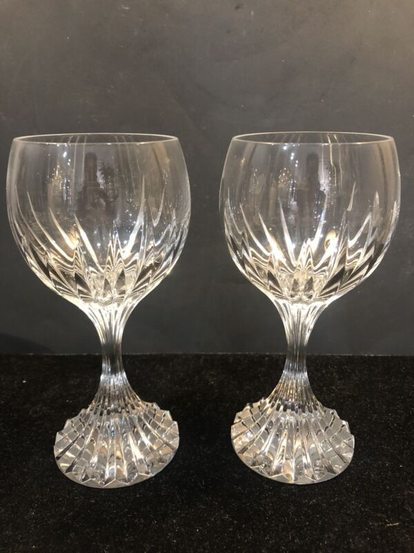 "PAIR Baccarat ""Massena"" 7 3/8"" Water Wine Glasses MINT Condition MSRP $380"