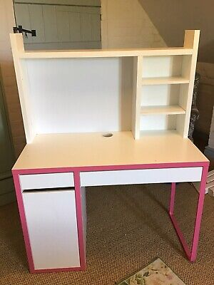 GIRLS MICKE IKEA WHITE/PINK WORKSTATION/ DESK