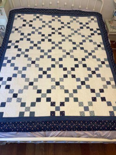 NEW HANDMADE Quilt IRISH CHAIN Blue White Fabric Cotton Charity CUSTOM QUILTED