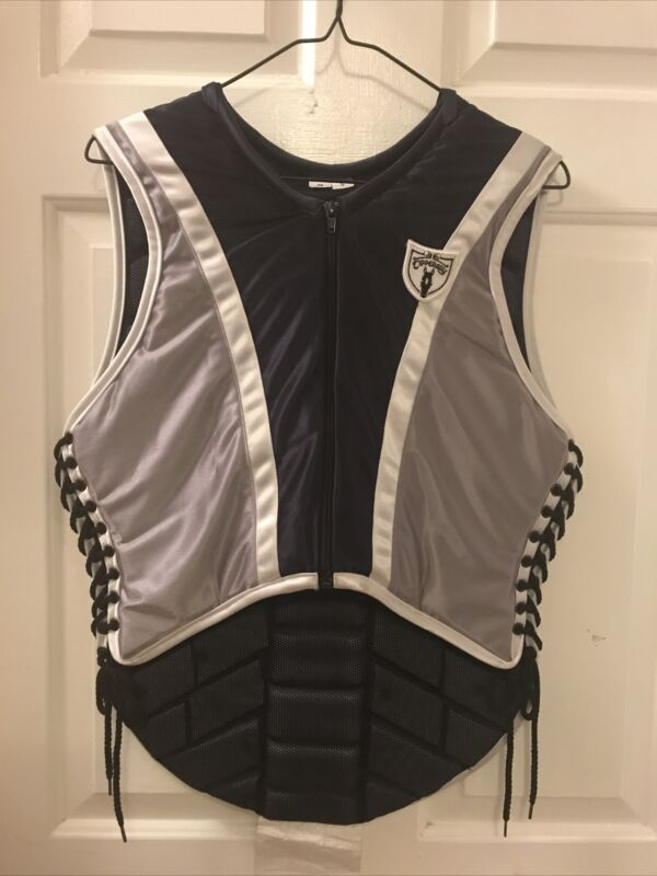 Tipperary Equestrian Eventer Phoenix Custom Safety Vest 36 SMALL Navy Silver NWT