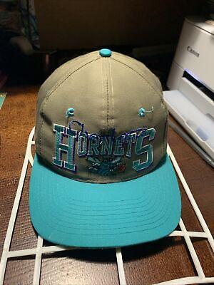 Vintage Charlotte Hornets Big Logo Snapback Hat NBA TWill RARE HTF Teal Purple