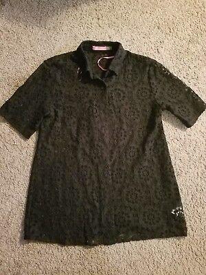 Isaac Mizrahi New York Sheer Black Button Down Shirt Womens Size 6 EUC
