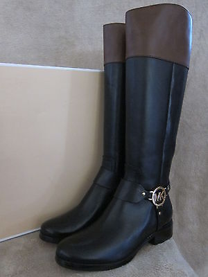 MICHAEL KORS Fulton Harness Black & Mocha Brown Leather Boots Shoes US 6 M NWB