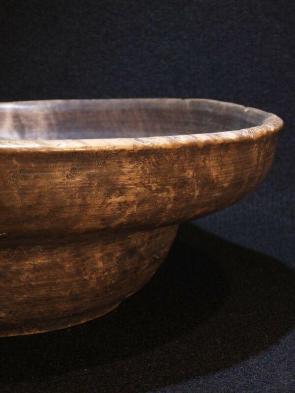 Antique turned burrwood / burlwood treen bowl