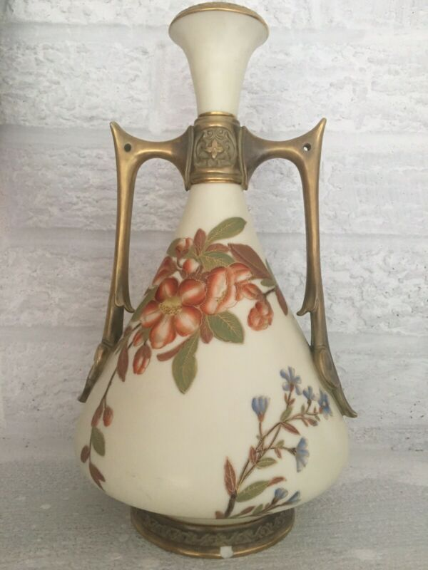 Beautiful Royal Worcester Handled Vase Gilt Handles Floral Decorations H 10""